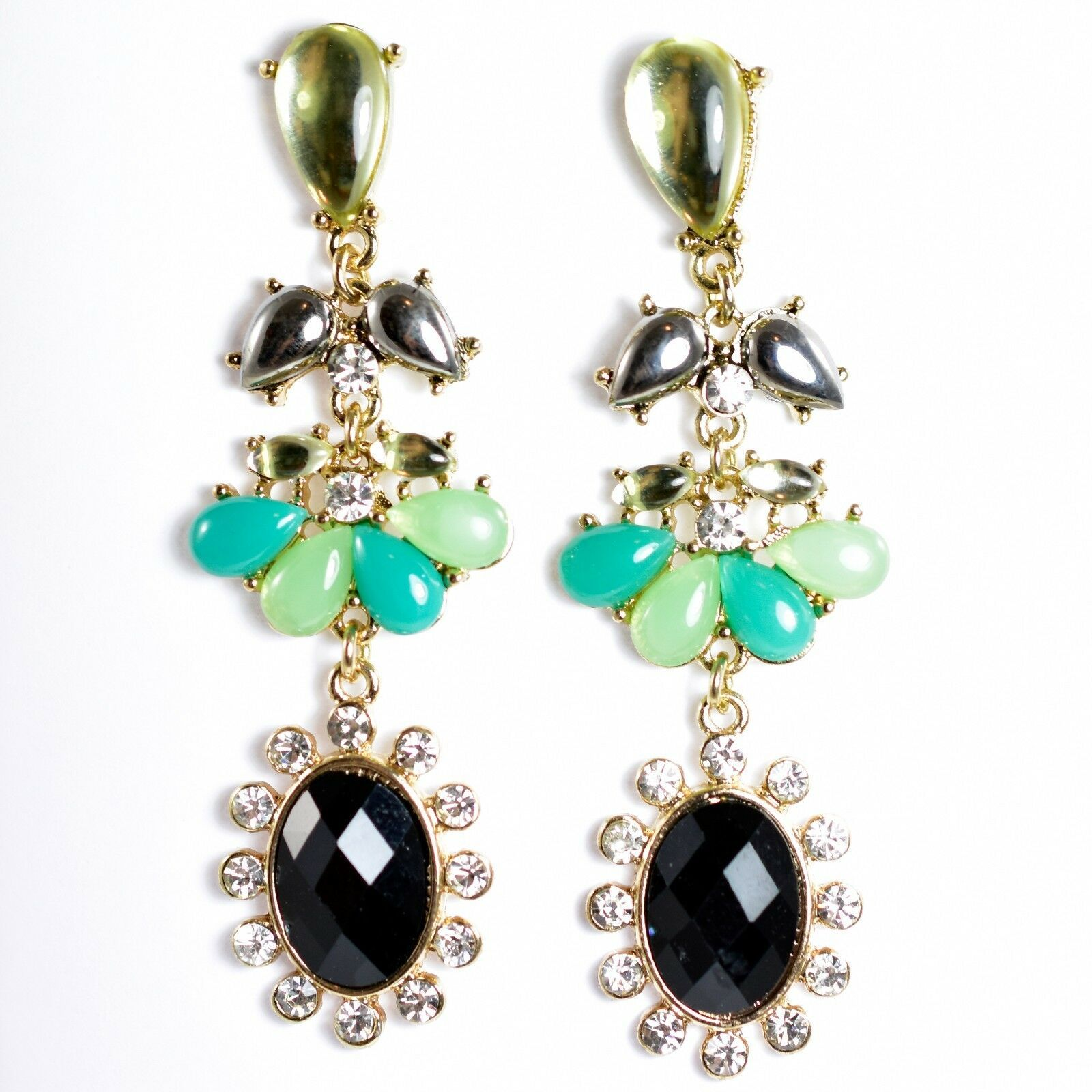 "Mode Mint Green & Black Lucite Bead 2.5"" Drop Post Dangle Earrings New with Tag"