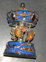 Vintage Decorated Enamel Jeweled Elephant Carousel Music Box  image 7