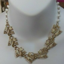 Vintage Coro Gold-tone with white Enamel leaves & White Bead Chain neckl... - $28.70
