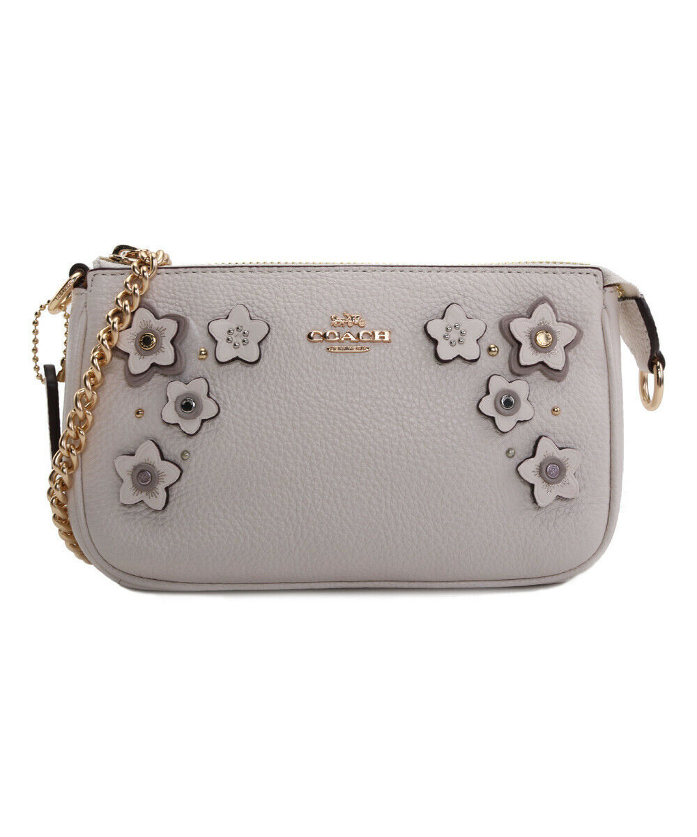 Primary image for NWT COACH Wristlet 19 Clutch Floral Applique Studs Gold Chain Chalk White F73443