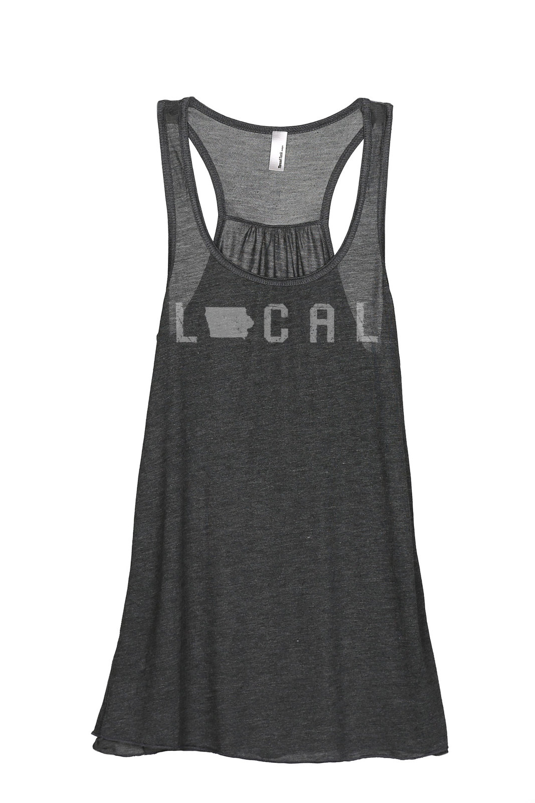 Thread Tank Local Iowa State Women's Sleeveless Flowy Racerback Tank Top Charcoa