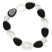 Simple Black and White Glass Bead Stretch Bracelet - $4.75