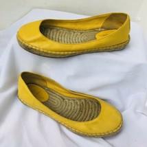 COLE HAAN Women Ballet Flats Yellow Leather  Espadrille Size 8 B Jute So... - £14.11 GBP