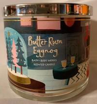 Bath and Body Works BUTTER RUM EGGNOG Bourbon Nutmeg Buttercream Candle ... - $27.67