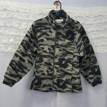 Columbia Kids Boys 6/7 Black Gray Camo Fleece Zip Jacket clothing - $22.24