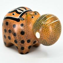 Crafts Caravan Soapstone Orange Black Hippopotamus Hippo Figurine Made Kenya image 1