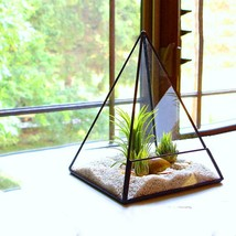 Modern Glass Plant Pyramid Space Flower Pot Art Deco Planter Geometric B... - $29.99 CAD+