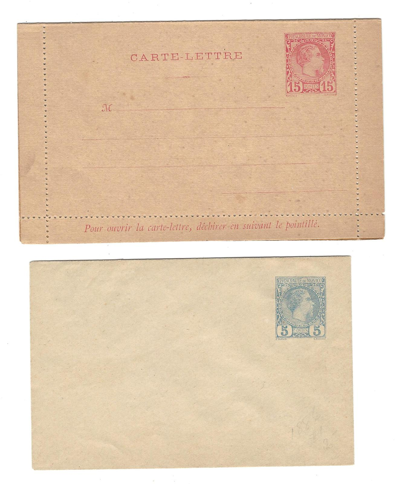 Primary image for Monaco Postal Stationery Unused 5c Envelope 15c Lettercard