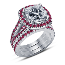 Celebrity Lala Vasquez Style Engagement Ring Set 14k White Gold FN. 925 Silver - $138.20