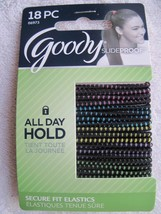 18 Goody Skinny Black w Color Ouchless Stay Put Ponytailer Hair Band Sli... - $7.00
