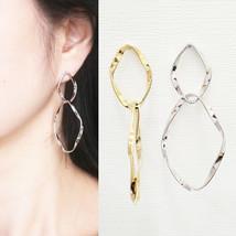 Double Wave Twist Drop Dangle Earrings Brass Gold Silver Color Fashion I... - $21.49