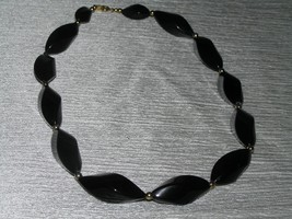 Estate Trifari Marked Black Plastic Twist with Goldtone Spacer Bead Necklace – - $8.59