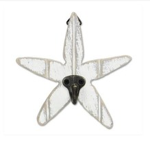 Coastal Wood Plaque Starfish Hook Wall Hanger Hand Carved Wood Decor White - $13.06