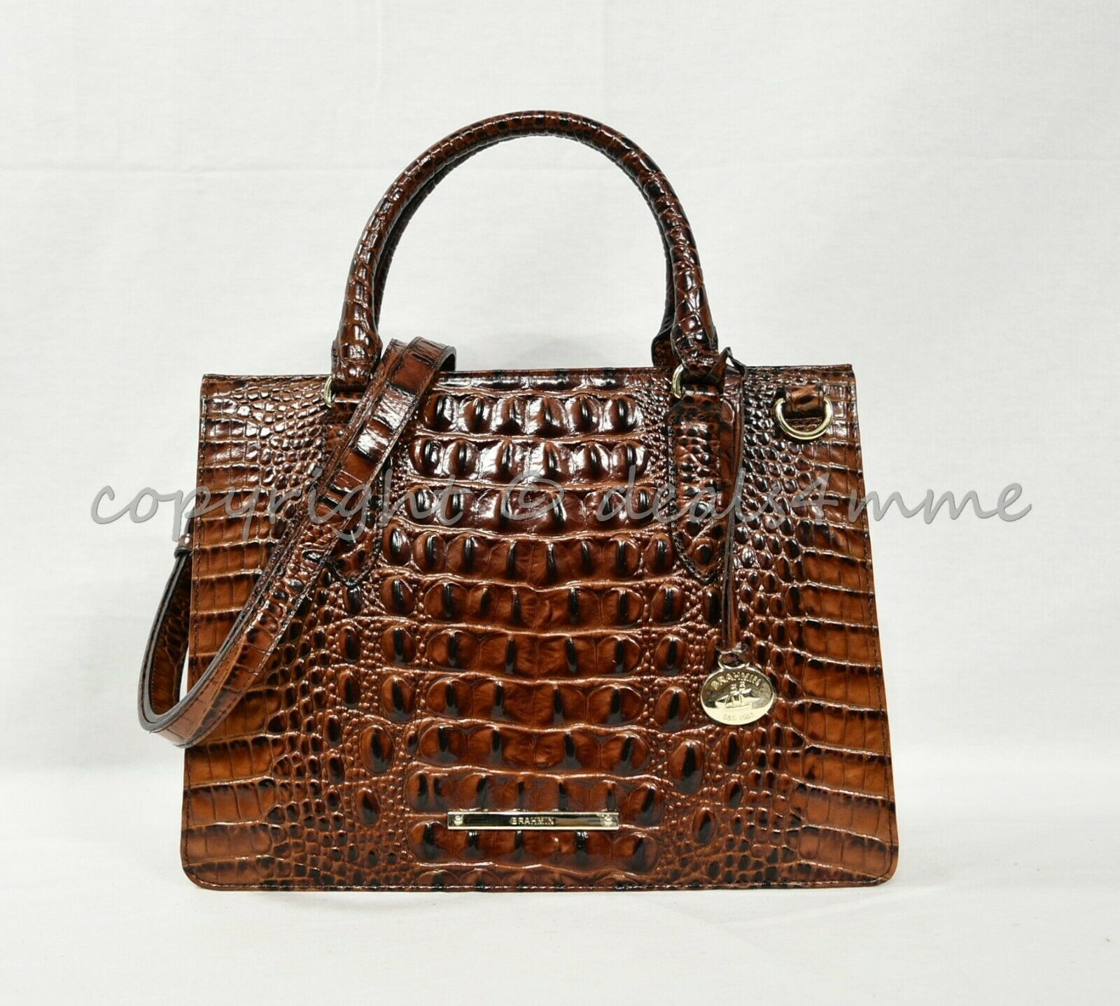 Primary image for NWT Brahmin Small Camille Leather Satchel/Shoulder Bag in Pecan Melbourne