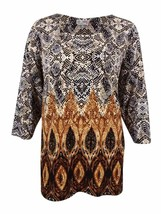 JM Collection Top Brown Black Size 0X Plus Snake-Printed Gold Studs NEW ... - $10.85