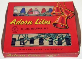 Vintage ADORN LITES C-7 Christmas Lights with 15 Bulbs IOB - $24.99