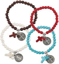 4 PACK ASSORTED COLORS STONE CHARM BRACELET WITH SAINT BENEDICT MEDAL - $23.18