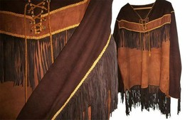 Mens New Native American Mountain Man Buckskin Brown Goat Suede War Shirt NA376B - $137.61