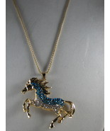 NEW Betsey Johnson Turquoise and White Rhinestone Horse Pendant... - $24.50