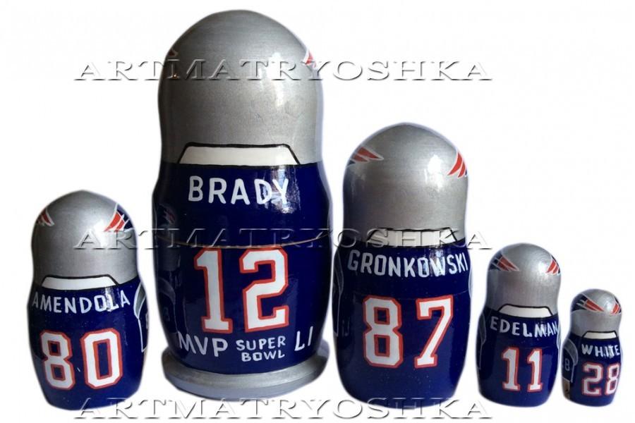 "New England Patriots nesting doll matryoshka doll, babushka doll 5 pc, 6"" image 2"