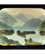 Vtg Magic Lantern Glass Slide Photo Color Scandinavian Lake Mountain Scene - $14.20