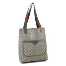 GUCCI Sherry Line GG Canvas Tote Bag Brown PVC Leather Auth 4728 - $224.00