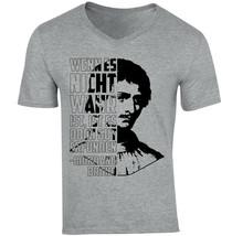 Giordano Bruno Wenn Es Nicht - NEW COTTON GREY V-NECK TSHIRT - $20.70