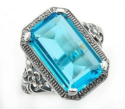 10CT Blue Topaz 925 Solid Sterling Silver Edwardian Look Ring Jewelry Sz... - $29.69