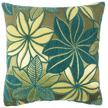 """BRIGHT TEAL SILVER GREY THICK CHENILLE FLORAL SPARKLY CUSHION COVER 17"""" ... - $8.50"""
