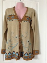Storybook Knits Sweater Woman M Beige Turquoise Beading Embroidery Western - $42.56