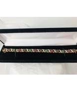 """Tri Color Gemstone Tennis Bracelet 7 1/4"""" Gold Vermeil Sterling Silver 0... - $68.16"""