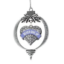 Inspired Silver Periwinkle Never Give Up Pave Heart Holiday Decoration Christmas - $14.69