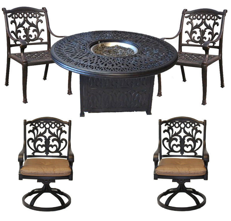"Propane Fire Pit Set Elisabeth 52"" Round Table Flamingo Chairs Swivels Bronze"