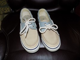 Sperry Top-Sider Brown Blue Canvas Sneakers Size 6.5 Women's EUC - $29.88