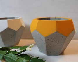 Planter Pencil Holder Concrete Geode Pot Geometric Diamond Home Decor De... - ₹2,964.66 INR