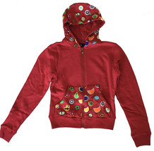 UGP Sweets Womens Cropped Maroon Red Fruity Yummy Goodies Zip Up Hoodie NWT image 1