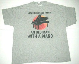 Mens 4XL Shirt Gray Never Underestimate An Old Man With A Piano Music T-... - $19.26