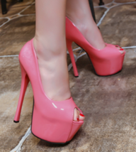 women heels, platform heel, 15 cm heel, stiletto, candy color,size 3-8.5, pink - $68.80