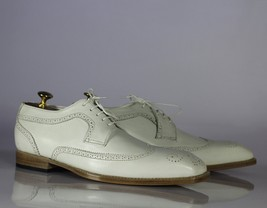 Handmade Men's White Heart Medallion Wing Tip Lace Up Dress/Formal Leather Shoes image 3