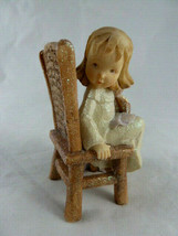 Enesco girl child in Prayer chair w Teddy Bear Glitter finish Blond w br... - $9.89