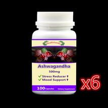 6 bottle 600caps,Stress Reducer Ashwagandha Root supplement ,Positive Mo... - $165.69