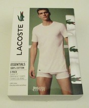 3 GENUINE LACOSTE SIZE MEDIUM 100% COTTON WHITE ESSENTIALS CREW NECK T S... - $28.90