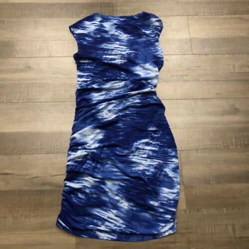 Bcbg Max Azria Dell Dress Small S Blue Side Zipper Ruched Bodycon Stretch