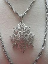 "VTG Trifari Couture Necklace Silver Tone Double Chain w Drop Pendant Texture 19"" - $29.69"
