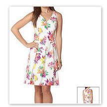 Ralph Lauren Chaps Dress Size 12 White Pink Fit Floral Cotton - $43.26