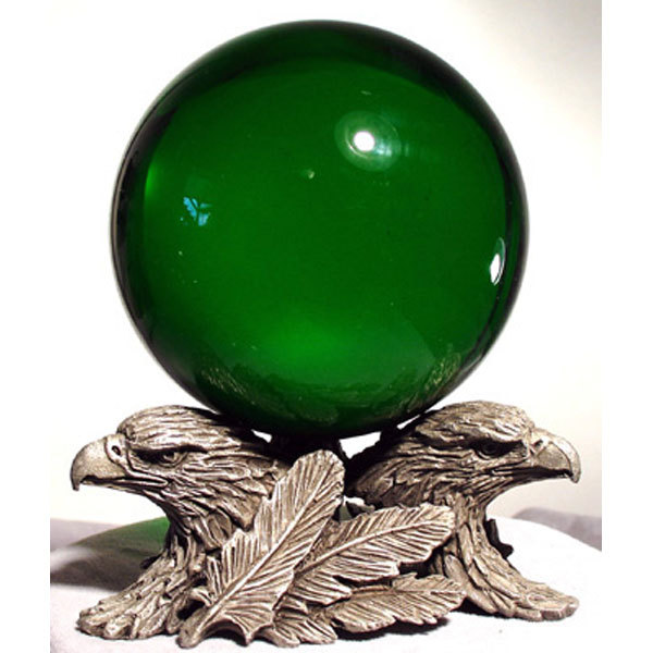 80mm Emerald Gazing Ball with Pewter Stand