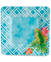 Gibson  Laurie Gates Teal Floral Square Dinner Plates, Set of 4 - $34.99