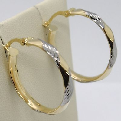YELLOW GOLD EARRINGS AND WHITE 750 18K CIRCLES WAVY TRANSPARENCIES MADE IN ITALY