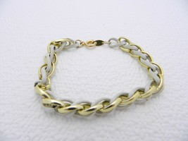 VTG TRIFARI Signed Gold Tone Cream Enamel Chain Link Metal Clasp Bracelet - $14.85