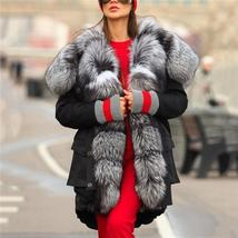 Top Quality Luxurious Fox Fur Collar lined Hooded Fox Parka Coat image 4